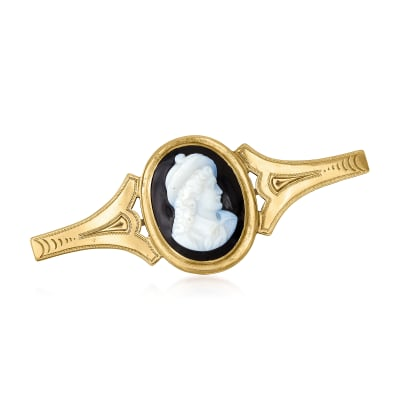 C. 1930 Vintage Black Agate Cameo Pin in 10kt Yellow Gold