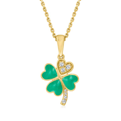 Green Enamel Four-Leaf Clover Pendant Necklace with Diamond Accents in 18kt Gold Over Sterling