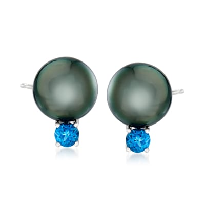 Cultured Tahitian Pearl and 1.70 ct. t.w. London Blue Topaz Earrings in Sterling Silver