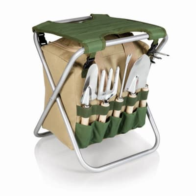 Gardener Green and Beige Folding Seat with 5-pc. Tool Set