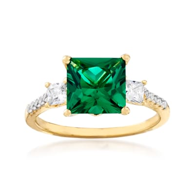 Simulated Emerald and .38 ct. t.w. CZ Ring in 18kt Gold Over Sterling