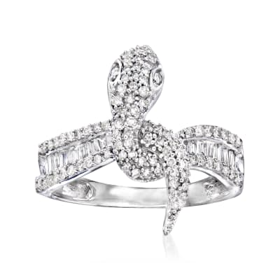 .64 ct. t.w. Diamond Snake Ring in 14kt White Gold