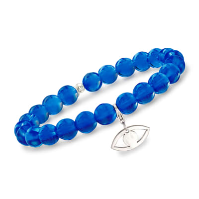 Italian Dark Blue Murano Glass Bead Stretch Bracelet with Sterling Silver Evil Eye Charm