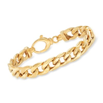18kt Gold Over Sterling Curb-Link Bracelet