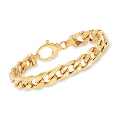 18kt Gold Over Sterling Curb-Link Bracelet