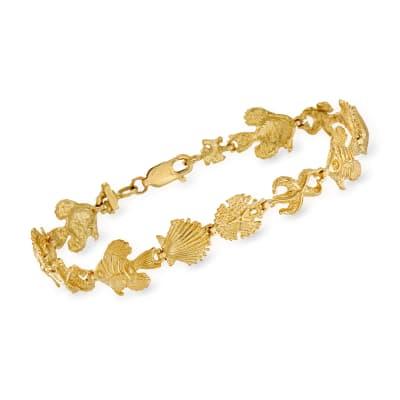 14kt Yellow Gold Sea Life Bracelet