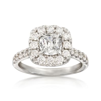 Henri Daussi 1.81 ct. t.w. Diamond Halo Ring in 18kt White Gold
