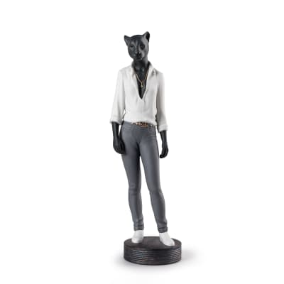 "Lladro ""Panther Woman"" Porcelain Figurine"