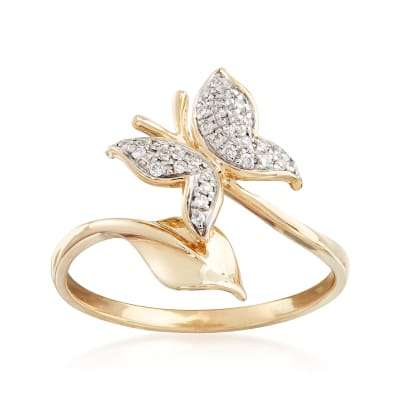 .12 ct. t.w. Diamond Butterfly Ring in 14kt Yellow Gold