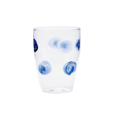 "Vietri ""Drop"" Blue Tall Tumbler Glass from Italy"