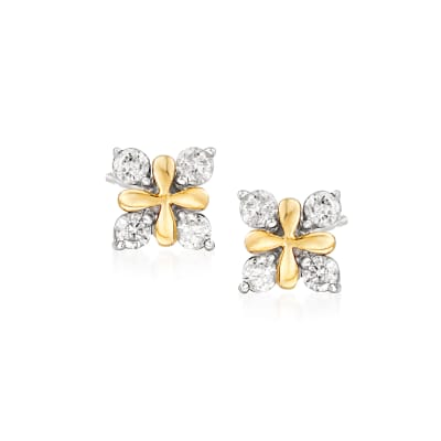 .25 ct. t.w. Diamond X Earrings in 14kt Yellow Gold with Sterling Silver