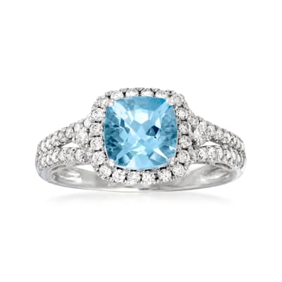 1.40 Carat Aquamarine and .44 ct. t.w. Diamond Ring in 14kt White Gold