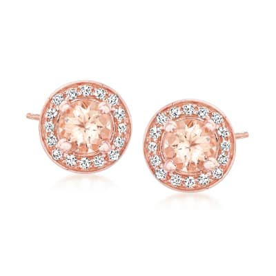 .90 ct. t.w. Morganite Earrings with .30 ct. t.w. White Zircon in 18kt Rose Gold Over Sterling