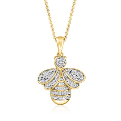 .33 ct. t.w. Diamond Bumblebee Pendant Necklace in 18kt Gold Over Sterling