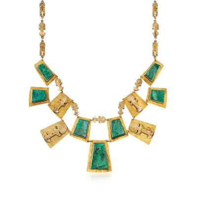 C. 1980 Vintage Malachite and 18kt Yellow Gold Bib Necklace