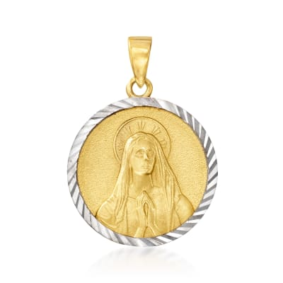 14kt Two-Tone Gold Blessed Mary with Praying Hands Circle Pendant