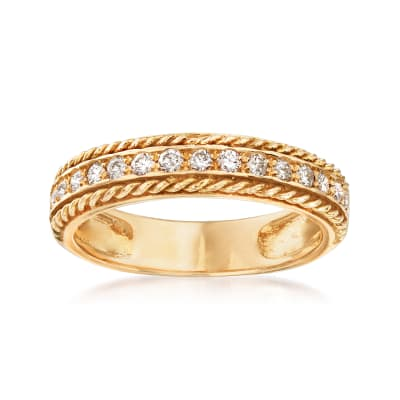 .34 ct. t.w. Diamond Roped Border Ring in 14kt Yellow Gold