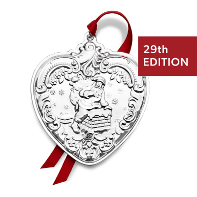Wallace 2020 Sterling Silver Grande Baroque Heart Ornament - 29th Edition