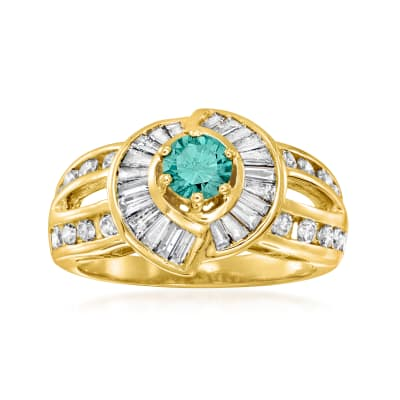 C. 1990 Vintage 1.52 ct. t.w. Blue and White Diamond Ring in 14kt Yellow Gold