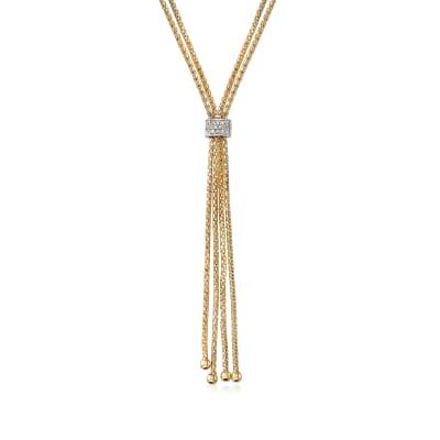 "Phillip Gavriel ""Popcorn"" .12 ct. t.w. Diamond Lariat Necklace in 14kt Yellow Gold"