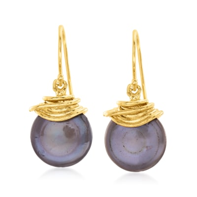 13mm Black Cultured Pearl Drop Earrings in 18kt Gold Over Sterling