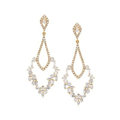 2.05 ct. t.w. Diamond Mosaic Chandelier Earrings in 18kt Yellow Gold