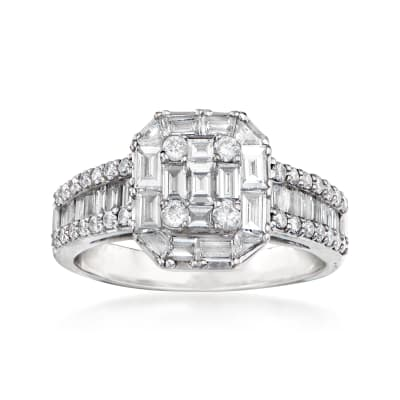 C. 1990 Vintage 1.49 ct. t.w. Diamond Cluster Ring in 18kt White Gold