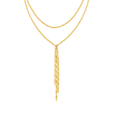 14kt Yellow Gold Mirror-Link Double-Strand Choker Necklace