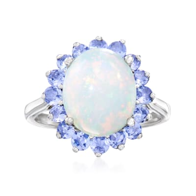 Opal and .90 ct. t.w. Tanzanite Ring in Sterling Silver