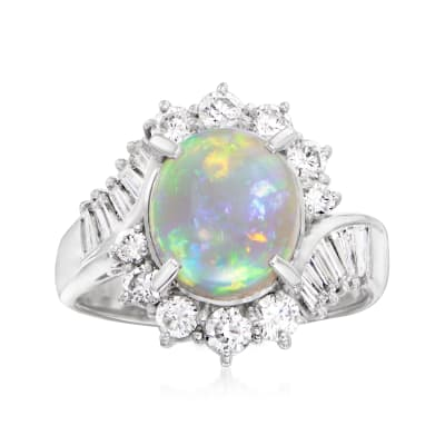 C. 1990 Vintage Opal and 1.57 ct. t.w. Diamond Ring in Platinum