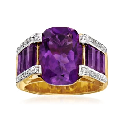 8.80 ct. t.w. Amethyst and .40 ct. t.w. White Zircon Ring in 18kt Gold Over Sterling