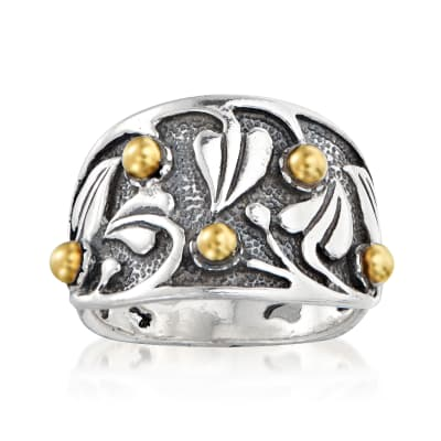 Sterling Silver Leaf Ring with 14kt Yellow Gold