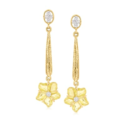 C. 2000 Vintage 5.80 ct. t.w. Lemon Quartz Flower Drop Earrings with .13 ct. t.w. Diamonds in 14kt Yellow Gold