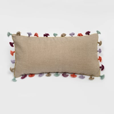 Joanna Buchanan Taupe Linen Rainbow Tassel Mini Lumbar Pillow