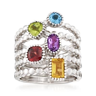 2.50 ct. t.w. Multi-Gem Jewelry Set: Five Rings in Sterling Silver