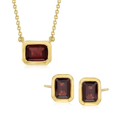 6.20 ct. t.w. Garnet Jewelry Set: Emerald-Cut Earrings and Necklace in 18kt Gold Over Sterling