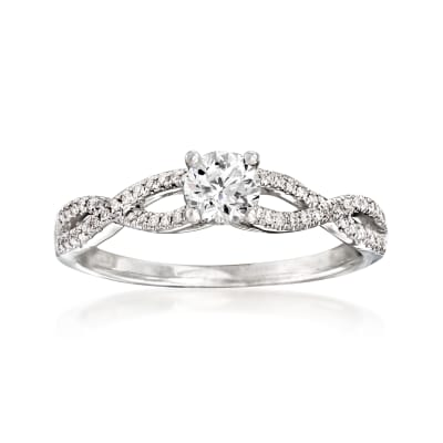 .53 ct. t.w. Diamond Twist Engagement Ring in 14kt White Gold