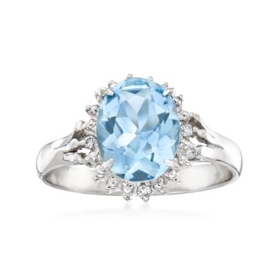 C. 1990 Vintage 1.66 Carat Aquamarine Ring with Diamond Accents in Platinum