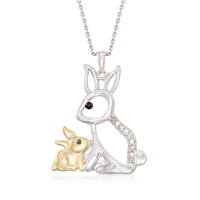 .10 ct. t.w. Diamond Mother and Baby Bunny Pendant Necklace in Sterling Silver and 18kt Gold Over Sterling