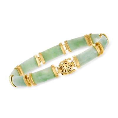 "Jade ""Good Fortune"" Bracelet in 18kt Gold Over Sterling"
