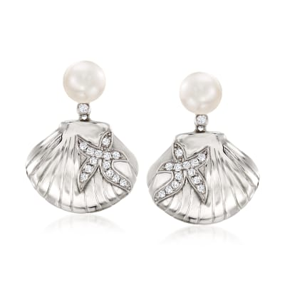 7-7.5mm Cultured Pearl and .30 ct. t.w. White Topaz Sea Life Drop Earrings