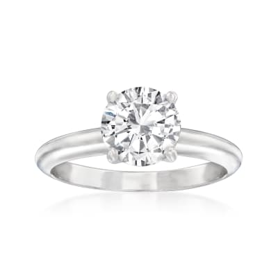 1.50 Carat Certified Diamond Solitaire Ring in 14kt White Gold