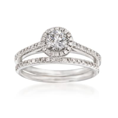 .86 ct. t.w. Diamond Bridal Set: Halo Engagement and Wedding Rings in 14kt White Gold