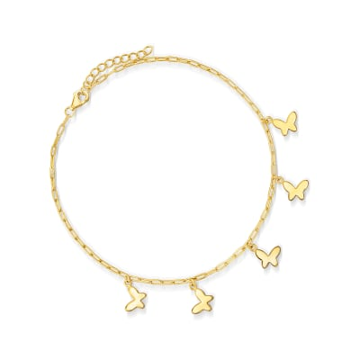 18kt Gold Over Sterling Paper Clip Link Butterfly Anklet