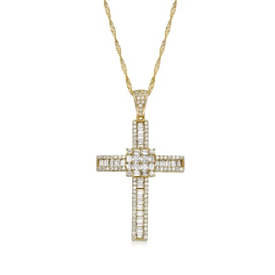2.16 ct. t.w. CZ Cross Pendant in 18kt Gold Over Sterling