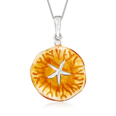 Amber Starfish Pendant Necklace in Sterling Silver