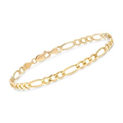 Men's 4.5mm 14kt Yellow Gold Figaro-Link Chain Bracelet