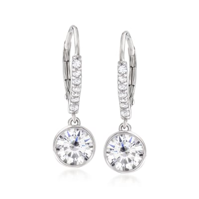 2.40 ct. t.w. Bezel-Set CZ Drop Earrings in Sterling Silver