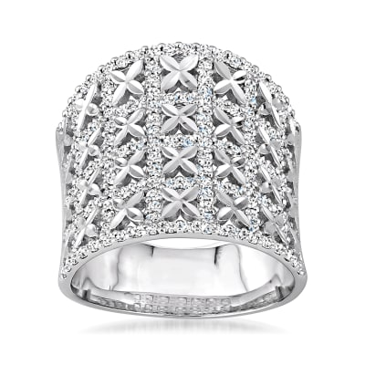 1.15 ct. t.w. Diamond Concave Ring in 18kt White Gold