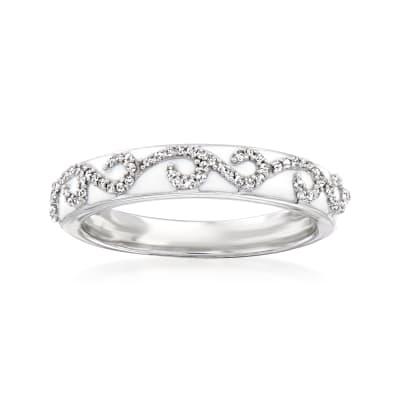 .15 ct. t.w. Diamond Swirl Ring with White Enamel in Sterling Silver